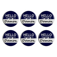 Damon Hello My Name Is Plastic Resin Button Set of 6