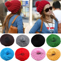 Women's candy color large sphere yarn knitted hat