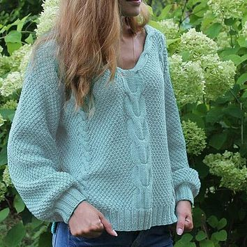 V Neck Cable Knitted Chunky Sweater