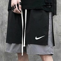 NIKE Summer New Letter Print Women Men Shorts Black