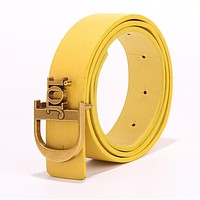 DIOR Fashionable Women Men Letter Smooth Buckle Leather Belt Yellow
