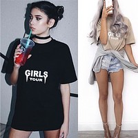 All-match Fashion Casual Letter Print Round Neck Short Sleeve T-shirt Tops
