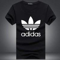 """Adidas""  Fashion Casual Unisex Floral Pattern Letter Print Short Sleeve T-shirt"