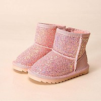 Fashion colorful bling girls winter boots snow boot for girls winter shoes dress shoes with fur kids ugs toddler girls shoes