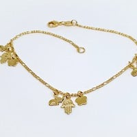 1-0030-g5 Gold Overlay anklet with Hamza Elephant and Clover. Good Luck!