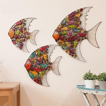 European Style Living Room Hanging Wall Decoration Color Fish Iron Painting
