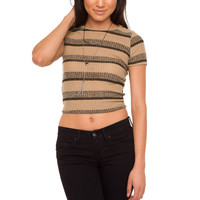 Hello World Striped Crop Top - Tan