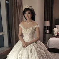 Luxury Ball Gown Wedding Dresses V Neck Appliques Beaded Short sleeve