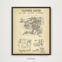 Laundry Decor, Clothes Dryer Patent Printable, Digital Download Blueprint Art, Laundry Wall Art, Patent Poster, Vintage Steampunk Art Prints