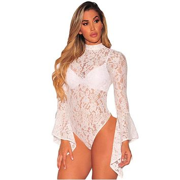 FLORAL LACE FLARE SLEEVE BODYSUIT