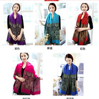 new Rose Pashmina 100% Cashmere Women's Scarves Paisley flower style Stole Shawl Wrap summer winter spring Scarf for lady