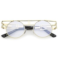 Steampunk Open Metal Frame Brow bar Flat Lens Round Glasses 47mm
