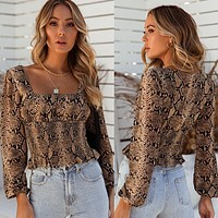 2020 autumn and winter new women's long-sleeved square neck snake print cropped top
