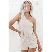 Cozy But Make It Classy Natural One Shoulder Top And Short Set