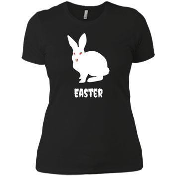 Evil Easter Bunny Rabbit Anti Holiday Pastel Goth Shirt Top Next Level Ladies Boyfriend Tee