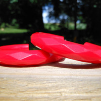 1970s 2 Inch Plastic Large Chunky Hoop Earrings Molded Faceted Big Jewelry Cherry Red Vintage Costume Accessory Retro Fashion Disco Bright