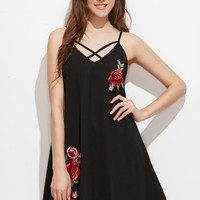 Black Adjustable Strap Embroidered Rose Applique Cami Dress
