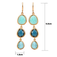 For Women Long Dangle Earrings Women Jewelry Charms Colorful Crystal Stone Long Drop Earrings J4U66