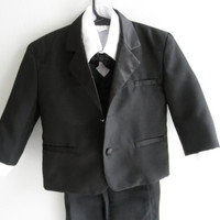 Vintage Baby Boy Suit 5 Piece 12 Month Gently Used Baby Clothes Black and White Tie Weddings Photography Photo Props Bow Tie Vest