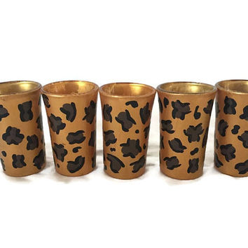 Cheetah Print Shot Glass, Cheetah Shot Glass, Hand Painted Shot Glass, Custom Shot Glass, Aminal Print Shot Glass, Custom Shot Glass Gifts