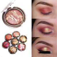 Cool Party Queen baked eyeshadow palette cheek bronzer color shimmer eyeshadow Baked powder gold metallic eye shadow powder PQ001&013AT_93_12