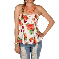 Sale-strapless Floral Peplum Top