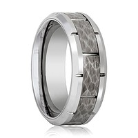 Men's Tungsten Wedding Band with Hammered Center and Grooves in Edges - 8MM