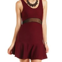 Mesh Cut-Out Fluted Skater Dress by Charlotte Russe