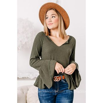 Standing Strong Olive Ribbed Top