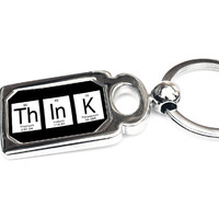 Think Periodic Table of Elements Metal Key Chain - Perfect Science Teacher Gift