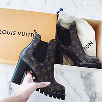 inseva LV Louis Vuitton Martin boots Monogram print Shoes High heel high tops Shoes