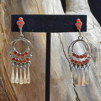 Native American Zuni Dishta Coral Earrings -Rare