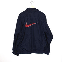 vintage NIKE windbreaker 90s minimalist navy blue + red athletic jacket medium