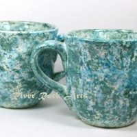 Large Turquoise Marble Ceramic Mug Set (2)