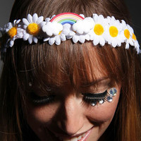 White daisy  LED Flower crown with Rainbow Center for raves EDC and Music Festivals