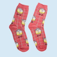 Grid Milk Carton Sock | Pink