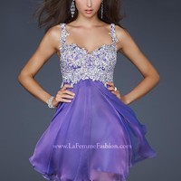 La Femme 17446 Lace Embellished Short Dress