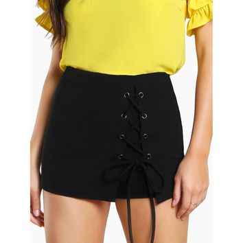 Grommet Lace Up Skort