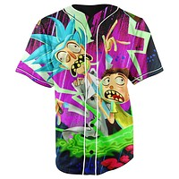 Rick and Morty Purple Button Up Baseball Jersey