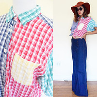 Vintage color block green yellow red blue oversized button up cowboy gingham short sleeves