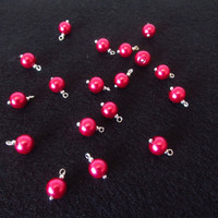 18 Pcs. Glass Pearl Charms - Silver / Pink Pearl Charms - Handmade Jewelry Making Supplies - Dark Pink 8mm Pearl Beads - DIY Jewelry Parts