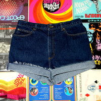 Vintage Denim Cut Offs - 90s VERY Dark Wash Jean Shorts - High Waisted/Frayed/Rolled Up/Cuffed Shorts Plus Size 14/16