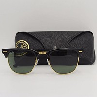 Tagre™ Cheap Ray-Ban Clubmaster RB3016 W0365 Black Gold Frame Sunglasses G15 lenses Ray Ban outlet
