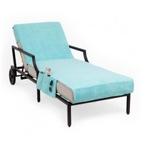 Chaise Lounge Cover with 3 Side Accessory Pockets - Aqua