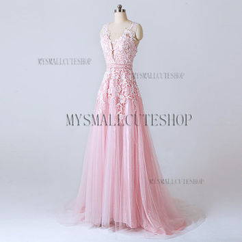 Pink prom dress 2016,Tulle bridesmaid dress,Sweep train formal dress,A-line party dress,Lace applique evening dress,V-neck woman dress