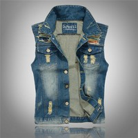 Summer Turn Down Collar Jeans Trendy Design Vest Jeans Men