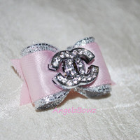 Satin and Silver Dog Bow with a Designer Inspired Center - Choose Any Color