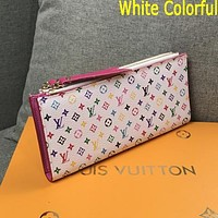 LV Louis Vuitton Classic Hot Sale Letter Color Block Printing Zipper Long Wallet Clutch Key Case Bag