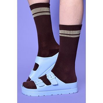Second Base Striped Crew Socks - Brown