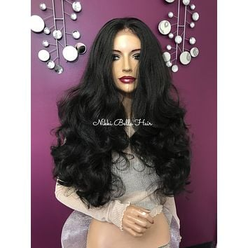 Dark brown lace front wig  Realistic 5 x 4 parting   180% density super full hair  #11838* Wonderful Waves